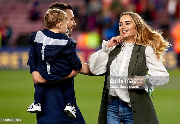 Jordi Alba of FC Barcelona celebrates with his family following in his team's victory in the La Liga match between FC Barcelona and Levante UD at...