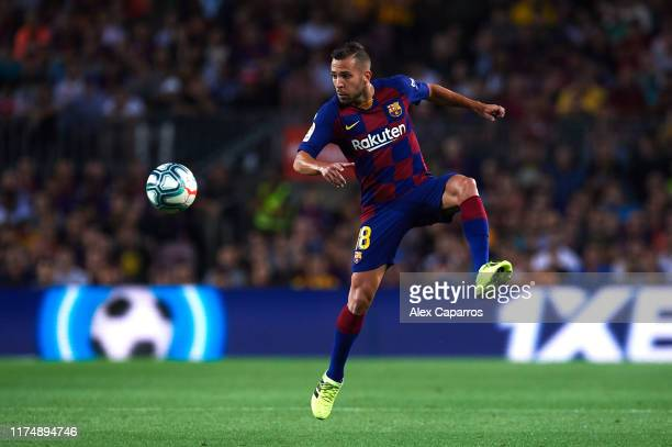 Jordi Alba of FC Barcelona controls the ball during the La Liga match between FC Barcelona and Valencia CF at Camp Nou on September 14 2019 in...