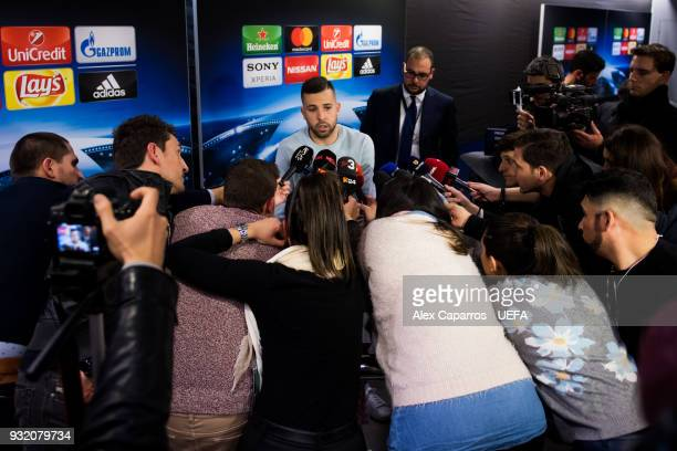 Jordi Alba of FC Barcelona faces the media after the UEFA Champions League Round of 16 Second Leg match between FC Barcelona and Chelsea FC at Camp...