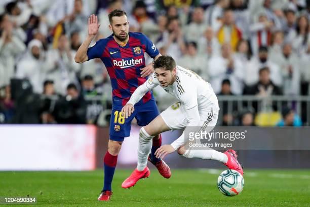 Jordi Alba of FC Barcelona Fede Valverde of Real Madrid during the La Liga Santander match between Real Madrid v FC Barcelona at the Santiago...