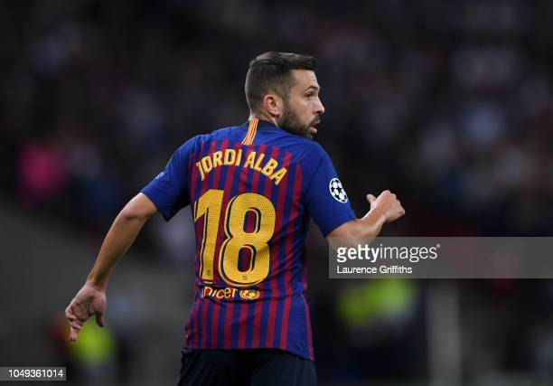 Jordi Alba of FC Barcelona looks on during the Group B match of the UEFA Champions League between Tottenham Hotspur and FC Barcelona at Wembley...