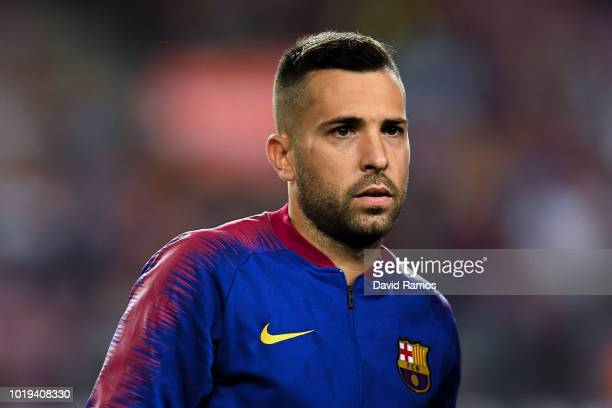 Jordi Alba of FC Barcelona looks on during the La Liga match between FC Barcelona and Deportivo Alaves at Camp Nou on August 18 2018 in Barcelona...