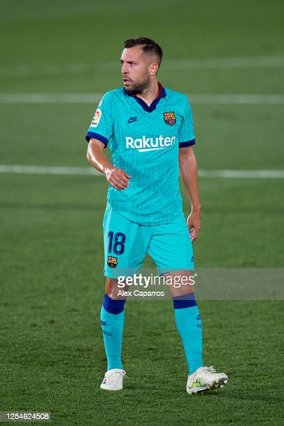 Jordi Alba of FC Barcelona looks on during the Liga match between Villarreal CF and FC Barcelona at Estadio de la Ceramica on July 05 2020 in...