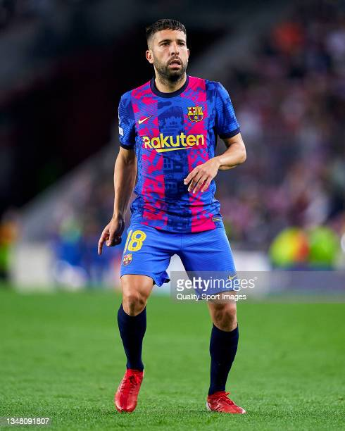 Jordi Alba of FC Barcelona looks on during the UEFA Champions League group E match between FC Barcelona and Dinamo Kiev at Camp Nou on October 20,...