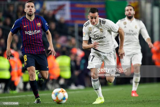 Jordi Alba of FC Barcelona Lucas Vazquez of Real Madrid during the Spanish Copa del Rey match between FC Barcelona v Real Madrid at the Camp Nou on...