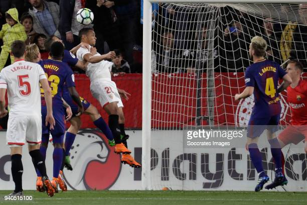 Jordi Alba of FC Barcelona Luis Muriel of Sevilla FC during the La Liga Santander match between Sevilla v FC Barcelona at the Estadio Ramon Sanchez...