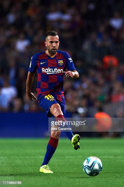 Jordi Alba of FC Barcelona plays the ball during the La Liga match between FC Barcelona and Valencia CF at Camp Nou on September 14 2019 in Barcelona...