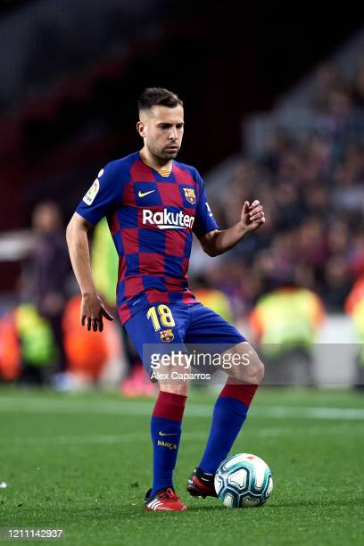 Jordi Alba of FC Barcelona plays the ball during the Liga match between FC Barcelona and Real Sociedad at Camp Nou on March 07 2020 in Barcelona Spain