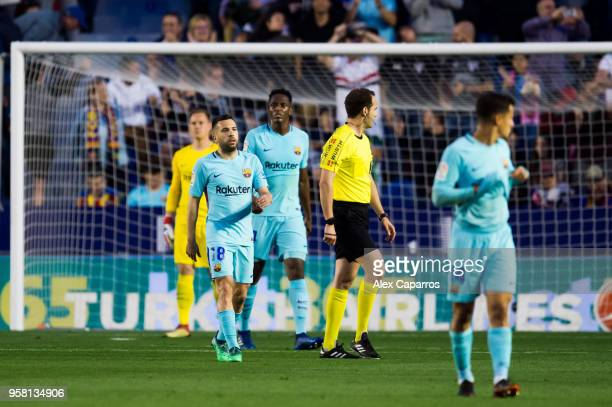 Jordi Alba of FC Barcelona reacts after Emmanuel Boateng of Levante UD scored his team's second goal during the La Liga match between Levante UD and...