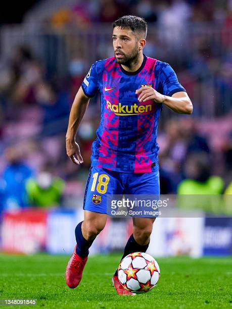 Jordi Alba of FC Barcelona runs the ball during the UEFA Champions League group E match between FC Barcelona and Dinamo Kiev at Camp Nou on October...