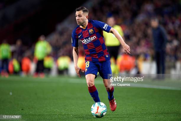 Jordi Alba of FC Barcelona runs with the ball during the Liga match between FC Barcelona and Real Sociedad at Camp Nou on March 07 2020 in Barcelona...