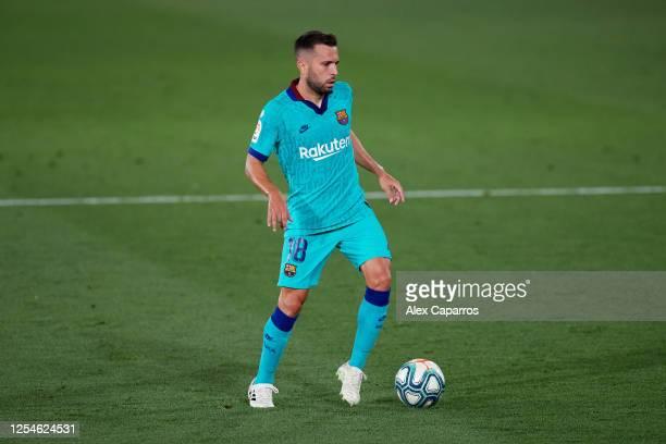 Jordi Alba of FC Barcelona runs with the ball during the Liga match between Villarreal CF and FC Barcelona at Estadio de la Ceramica on July 05 2020...