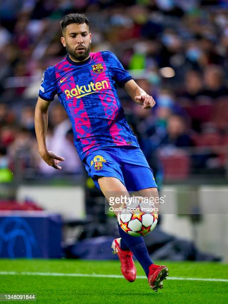 Jordi Alba of FC Barcelona runs with the ball during the UEFA Champions League group E match between FC Barcelona and Dinamo Kiev at Camp Nou on...
