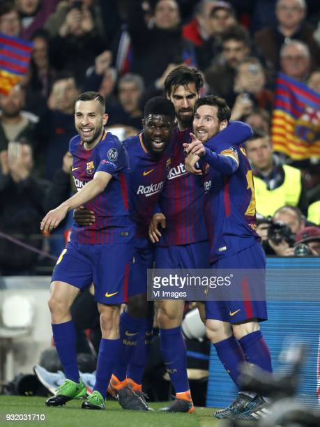 Jordi Alba of FC Barcelona Samuel Umtiti of FC Barcelona Aleix Vidal of FC Barcelona Lionel Messi of FC Barcelona during the UEFA Champions League...