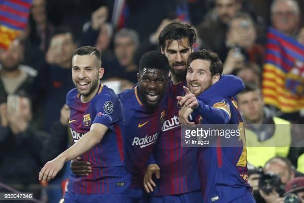 Jordi Alba of FC Barcelona Samuel Umtiti of FC Barcelona Andre Gomes of FC Barcelona Lionel Messi of FC Barcelona during the UEFA Champions League...