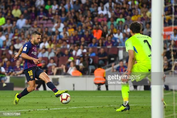 Jordi Alba of FC Barcelona scores his team's seventh goal during the La Liga match between FC Barcelona and SD Huesca at Camp Nou on September 2 2018...