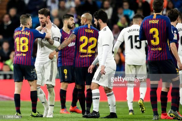 Jordi Alba of FC Barcelona Sergio Ramos of Real Madrid Luis Suarez of FC Barcelona Arturo Vidal of FC Barcelona Isco of Real Madrid Federico Valverde...