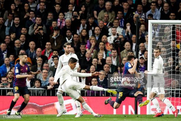 Jordi Alba of FC Barcelona Sergio Ramos of Real Madrid Raphael Varane of Real Madrid Clement Lenglet of FC Barcelona Gareth Bale of Real Madrid...