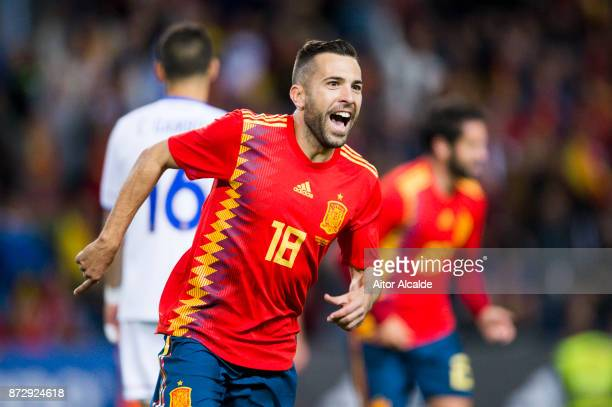Jordi Alba of Spain celebrates after scoring goal during the international friendly match between Spain and Costa Rica at La Rosaleda Stadium on...
