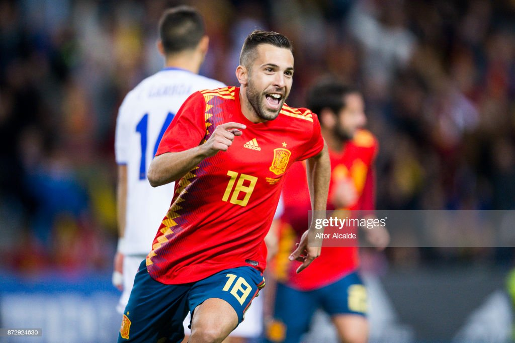 Jordi Alba of Spain celebrates after scoring goal during the international friendly match between Spain and Costa Rica at La Rosaleda Stadium on November 11, 2017 in Malaga, Spain.