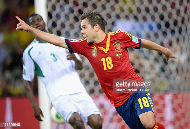 Jordi Alba of Spain celebrates after scoring their third goal during the FIFA Confederations Cup Brazil 2013 Group B match between Nigeria and Spain...