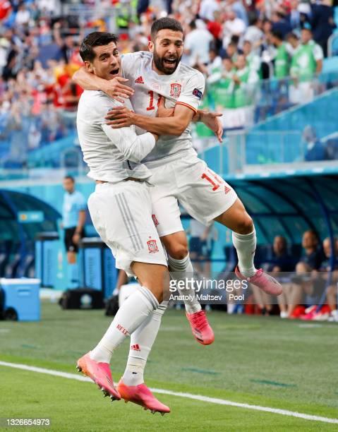 Jordi Alba of Spain celebrates with Alvaro Morata after scoring their side's first goal during the UEFA Euro 2020 Championship Quarter-final match...