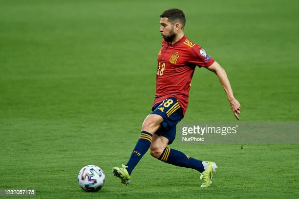 Jordi Alba of Spain controls the ball during the FIFA World Cup 2022 Qatar qualifying match between Spain and Kosovo at Estadio de La Cartuja on...