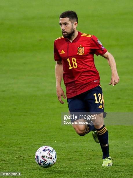 Jordi Alba of Spain during the World Cup Qualifier match between Spain v Kosovo at the La Cartuja Stadium on March 31, 2021 in Sevilla Spain