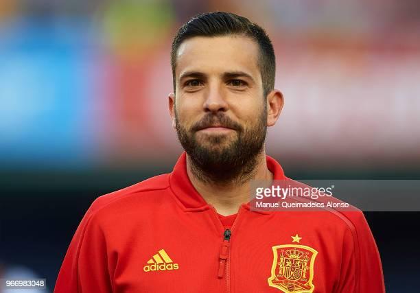 Jordi Alba of Spain looks on prior to the International Friendly match between Spain and Switzerland at Estadio de La Ceramica on June 3 2018 in...