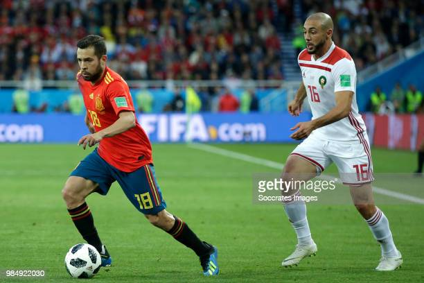 Jordi Alba of Spain Nordin Amrabat of Morocco during the World Cup match between Spain v Morocco at the Kaliningrad Stadium on June 25 2018 in...