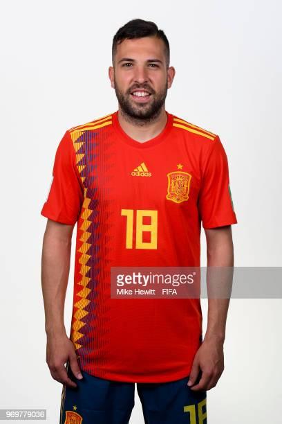 Jordi Alba of Spain poses for a portrait during the official FIFA World Cup 2018 portrait session at FC Krasnodar Academy on June 8 2018 in Krasnodar...