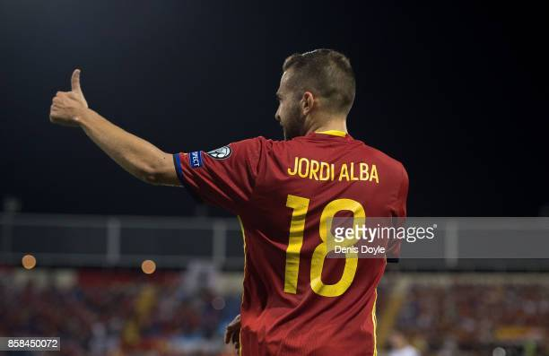 Jordi Alba of Spain reacts during the FIFA 2018 World Cup Qualifier between Spain and Albania at Estadio Jose Rico Perez on October 6 2017 in...