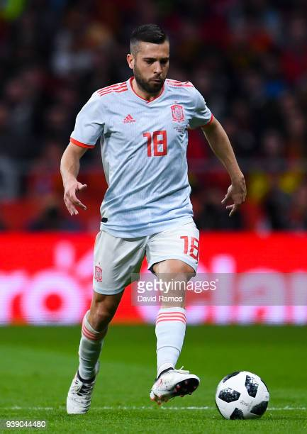 Jordi Alba of Spain runs with the ball during an International friendly match between Spain and Argentina at the Wanda Metropolitano stadium on March...