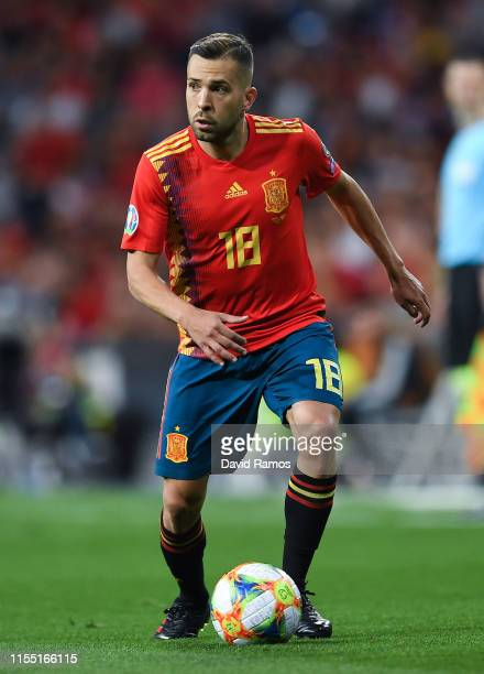 Jordi Alba of Spain runs with the ball during the UEFA Euro 2020 qualifier match between Spain and Sweden at Bernabeu on June 10, 2019 in Madrid,...