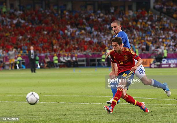 Jordi Alba of Spain scores their second goal during the UEFA EURO 2012 final match between Spain and Italy at the Olympic Stadium on July 1 2012 in...