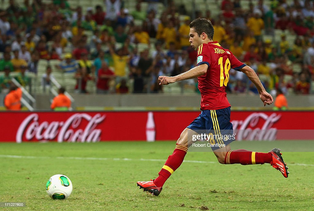 Jordi Alba of Spain scores their third goal during the FIFA Confederations Cup Brazil 2013 Group B match between Nigeria and Spain at Castelao on June 23, 2013 in Fortaleza, Brazil.