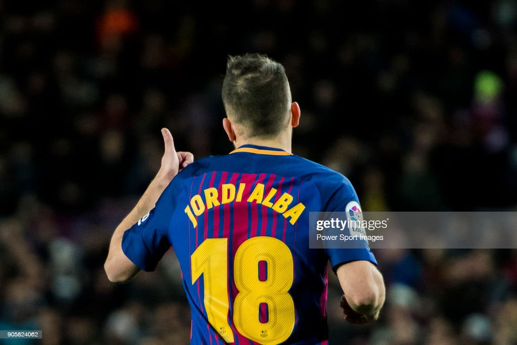 Jordi Alba Ramos of FC Barcelona reacts during the Copa Del Rey 2017-18 Round of 16 (2nd leg) match between FC Barcelona and RC Celta de Vigo at Camp Nou on 11 January 2018 in Barcelona, Spain.