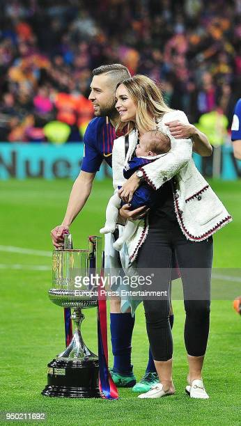 Jordi Alba Romarey Ventura and their son Piero Alba are seen at the Spanish Copa del Rey Final match between Barcelona and Sevilla at Wanda...