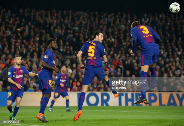 Jordi Alba Samuel Umtiti Sergio Busquets and Gerard Pique during the match between FC Barcelona and Chelsea FC for the secong leg of the 1/8 final of...