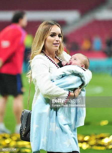 Jordi Alba's wife Romarey Ventura and her son Piero Alba are seen at the Spanish Copa del Rey Final match between Barcelona and Sevilla at Wanda...