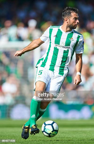 Jordi Amat of Real Betis Balompie in action during the La Liga match between Real Betis and Alaves at Estadio Benito Villamarin on October 21 in...