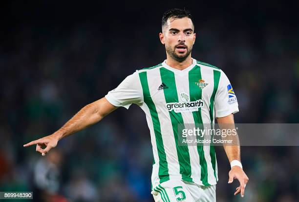 Jordi Amat of Real Betis Balompie reacts during the La Liga match between Real Betis and Getafe at Estadio Benito Villamarin on November 3 2017 in...