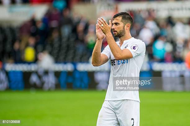 Jordi Amat of Swansea City applauds fans during the Premier League match between Swansea City and Manchester City at The Liberty Stadium on September...