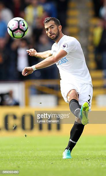 Jordi Amat of Swansea City during the Premier League match between Burnley and Cardiff City at Turf Moor on August 13 2016 in Burnley England