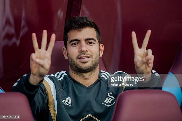 Jordi Amat of Swansea City gestures prior to the Barclays Premier League match between Aston Villa and Swansea City at Villa Park on March 21 2015 in...