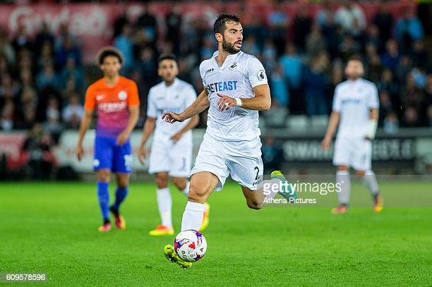 Jordi Amat of Swansea City in action during the EFL Cup Third Round Premier match between Swansea City and Manchester City at The Liberty Stadium on...