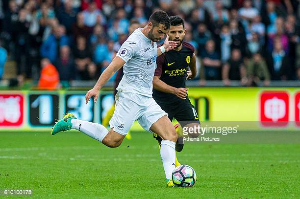 Jordi Amat of Swansea City in action during the Premier League match between Swansea City and Manchester City at The Liberty Stadium on September 24...