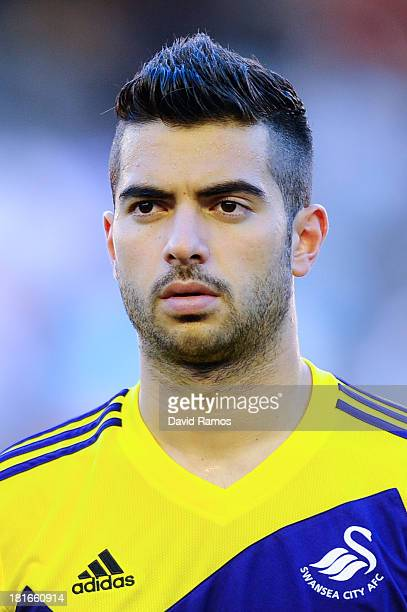 Jordi Amat of Swansea City looks on prior to the UEFA Europa League Group A match between Valencia CF and Swansea City at Estadi de Mestalla on...