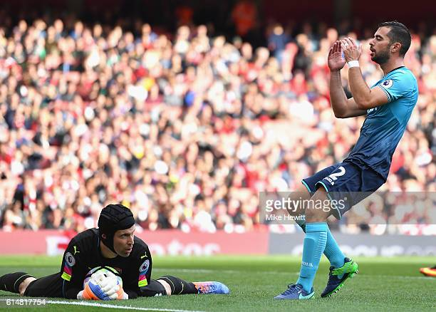 Jordi Amat of Swansea City reacts after having a header saved during the Premier League match between Arsenal and Swansea City at Emirates Stadium on...