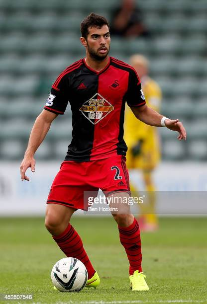 Jordi Amat of Swansea in action during the Pre Season Friendly between Plymouth Argyle and Swansea City at Home Park on July 27 2014 in Plymouth...